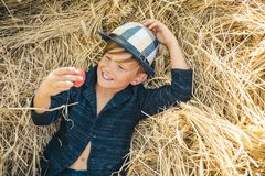Autumn Clothing and color kids trends. Autumn child with autumnal mood. Boy on a breeze in an autumn village. Autumn. Time for kids Fashion sale royalty free stock photo