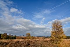 Autumn cloud formation against blue sky over Cannock Chase. Cannock Chase Area of Outstanding Natural Beauty in Staffordshire. 26 squared miles of forest and Royalty Free Stock Image