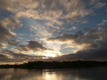 Autumn clouds at sunrise before storm. View Royalty Free Stock Photos