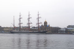 Autumn, cloudy evening on Bolshaya Neva. Sailboat Sedov in the parking lot in St. Petersburg Royalty Free Stock Photo