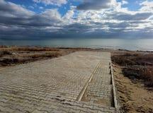 Autumn coast of the Caspian Sea stock images