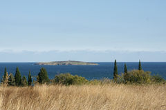 Autumn coast - 10. Withered grass on the background of the island and the sea in Bulgaria Stock Image