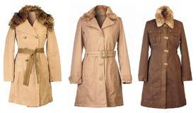 Autumn Coats. Three woolen coats isolated on white background Stock Image
