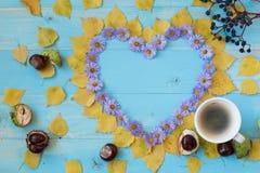 Autumn Coffee Background Royaltyfri Fotografi