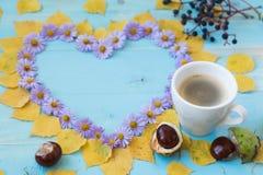 Autumn Coffee Background Arkivfoton