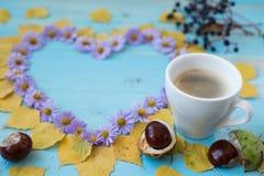 Autumn Coffee Background Royaltyfri Bild
