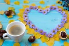 Autumn Coffee Background Arkivfoto