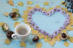 Autumn Coffee Background Arkivbilder