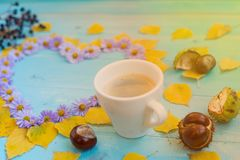 Autumn Coffee Background Fotografering för Bildbyråer