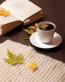 Autumn coffee. Cup of coffee, open book, autumn leaves ans wool scarf on table stock photo
