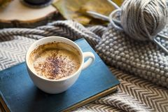 Free Autumn Coffee Cup With Book And Knitting Wool And Needles, Cozy Fall Deco Concept, Home Lifestyle Warm Coffee Cup In Autumn Royalty Free Stock Photography - 157760987