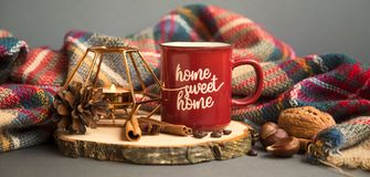 Free Autumn Coffee Cup With Candle, Spices And Blanket Decorations On Wooden Board, Cozy Fall Deco Concept, Home Sweet Home Royalty Free Stock Image - 157760996