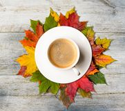 Autumn coffee and leaves Royalty Free Stock Photography
