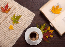 Autumn coffee and poems Stock Photo