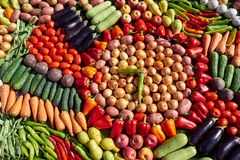 Collage of fruits and vegetables royalty free stock images