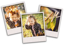 Autumn collage with happy child Stock Images