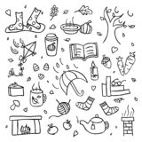 Autumn collection of fall things wind and rain drawing isolated set royalty free stock images