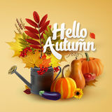 Autumn collection. Hello Autumn Typographical Background With autumn leaves, vegetables and flowers Royalty Free Stock Photo