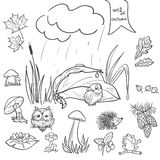 Autumn collection with images of birds, animals, fungi, flowers, cones for the kids in black contour. Set 2 Stock Photo