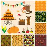 Autumn collection with 7 seamless patterns, food and other element Stock Images