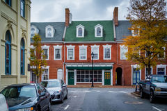Autumn color and brick buildings in Easton, Maryland. Stock Photo