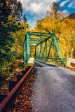 Autumn color and a bridge in Gunpowder Falls State Park, Marylan Stock Photography
