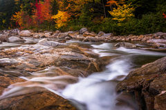 Autumn color and cascades on the Swift River, along the Kancamag Stock Photography