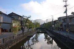 Autumn color change Japan at Kinosaki onsen stock image