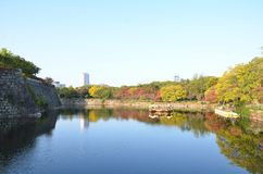 Autumn color change Japan at Osaka castle stock images