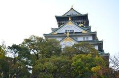 Autumn color change Japan at Osaka castle royalty free stock image