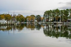 Autumn Color the Chesapeake Bay Shore and Harbor in St Michaels. Maryland Stock Photo