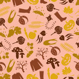 Autumn color icons seamless vector pattern Royalty Free Stock Photography