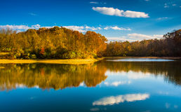 Autumn color at Lake Marburg, Codorus State Park, Pennsylvania. Royalty Free Stock Images