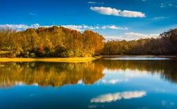 Autumn color at Lake Marburg, Codorus State Park, Pennsylvania. Royalty Free Stock Images