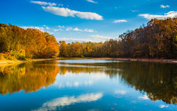 Autumn color at Lake Marburg, Codorus State Park, Pennsylvania. Stock Photos