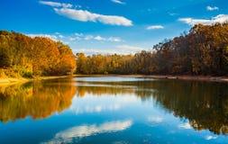 Autumn color at Lake Marburg, Codorus State Park, Pennsylvania. Stock Photos