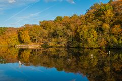 Autumn color at Lake Roland at Robert E Lee Park in Baltimore, Maryland.  royalty free stock photography