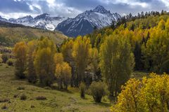 Autumn color leads to Mount Sneffels and San Juan Mountains in A. September 29, 2017 - Autumn color leads to Mount Sneffels and San Juan Mountains in Autumn royalty free stock photos
