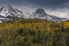 Autumn color leads to Mount Sneffels and San Juan Mountains in A. September 23, 2017 - Autumn color leads to Mount Sneffels and San Juan Mountains in Autumn royalty free stock photography