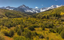 Autumn color leads to Mount Sneffels and San Juan Mountains in A. September 24, 2017 - Autumn color leads to Mount Sneffels and San Juan Mountains in Autumn royalty free stock photo