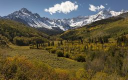 Autumn color leads to Mount Sneffels and San Juan Mountains in A. September 24, 2017 - Autumn color leads to Mount Sneffels and San Juan Mountains in Autumn royalty free stock image
