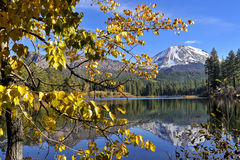 Autumn color at Manzanita Lake, Lassen Peak, Lassen Volcanic National Park Royalty Free Stock Image