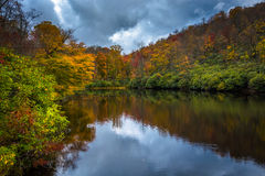 Autumn color and pond at Julian Price Park, near Blowing Rock, N Stock Image
