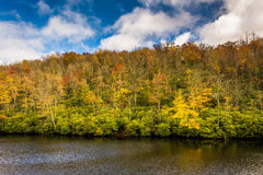 Autumn color and pond at Julian Price Park, near Blowing Rock, N stock photo