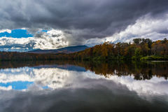 Autumn color and reflections at Julian Price Lake, along the Blu. E Ridge Parkway, North Carolina Stock Photos