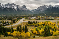 Autumn color rocky mountain town Royalty Free Stock Photo