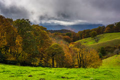 Autumn color and rolling hills in Moses Cone Park, on the Blue R Royalty Free Stock Image