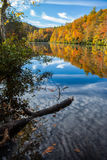 Autumn color surrounds mirror lake in fall Stock Photo