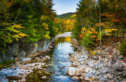 Autumn color and the Swift River at Rocky Gorge, on the Kancamag Stock Photos