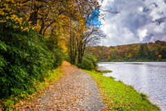 Autumn color and trail at the Trout Lake in Moses H. Cone Park,. On the Blue Ridge Parkway, North Carolina Stock Photography